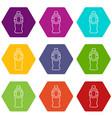 bottle juice icons set 9 vector image vector image