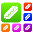 bun and sausage set color collection vector image vector image
