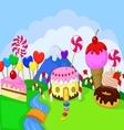 Cartoon Fantasy sweet food land vector image vector image