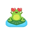 Cartoon Frog Character In Love vector image vector image