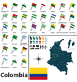 Colombia map with flags vector image