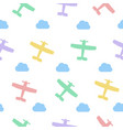colored airplanes and clouds seamless vector image vector image