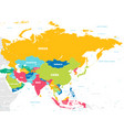 colorful map asia vector image vector image