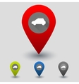 Colorful navigation signs with car vector image vector image