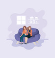 couple of women in living room using technology vector image vector image