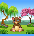 Cute funny bear sitting in the jungle vector image vector image