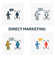 direct marketing icon set four elements in vector image vector image