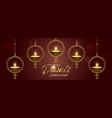 diwali light festival banner gold diya candle vector image vector image