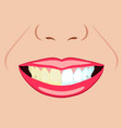 face of girl and smile with bad and ideal vector image vector image