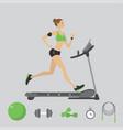 fashion girl running on a treadmill vector image vector image