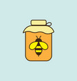 flat honey jar with bee icon on blue background vector image