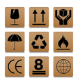 Fragile symbol set with brown cardboard texture vector image