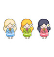 girls with lollipop cute cartoon character vector image vector image