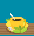green tea with lemon flat vector image vector image
