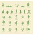 hand drawing tree set vector image vector image