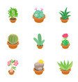 home plant icons set cartoon style vector image vector image