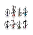 Hookah set sketch for your design vector image