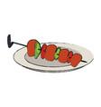 kebab meats on sticks food icon image vector image