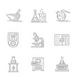 laboratory equipment flat line icons set vector image