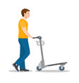 man pushing luggage cart with suitcases vector image vector image