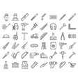 masonry worker construction icon set outline vector image