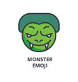 Monster emoji line icon sign