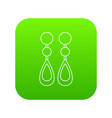 pearl earrings icon green vector image vector image