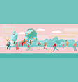 people city flat pink composition woman and girl vector image