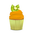 realistic detailed 3d cupcake with kiwi vector image vector image