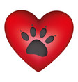 red heart shape with dog footprint icon vector image vector image