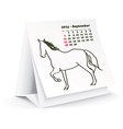 September 2014 desk horse calendar vector image vector image