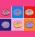 set donuts pop art style vector image