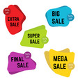 set of five colorful sale stickers with text vector image vector image