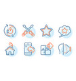 star puzzle and face id icons set screwdriverl vector image vector image