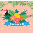 summer ribbon bird flower leaves pink background v vector image vector image