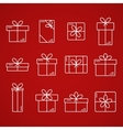 thin line icons of gift boxes vector image