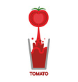 Tomato squeeze into glass Fresh tomato juice vector image vector image