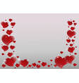 valentines day card with mirrored shiny red vector image vector image