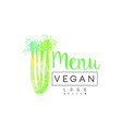vegan menu logo design label for vegetarian vector image