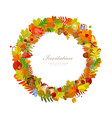 Wreath of autumn leaves for you design vector image vector image