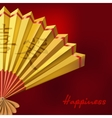 Yellow Chinese fan on red background vector image vector image