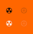 sign radioactive black and white set icon vector image