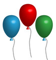 3d three balloon three multicolored balloons on vector image vector image