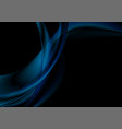 abstract smooth blue waves on black background vector image vector image