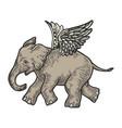 angel flying baby elephant engraving