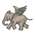 angel flying baelephant engraving vector image