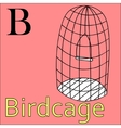 B letter alphabet Coloring book birdcage vector image