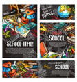back to school chalkboard banner template set vector image vector image