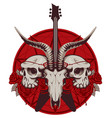 banner with guitar skulls roses and pentagram vector image vector image