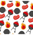 barbecue grill meat steak flame background vector image